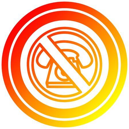 no cold calling circular icon with warm gradient finish Banco de Imagens - 129644938