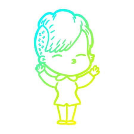 cold gradient line drawing of a cartoon squinting girl Illustration