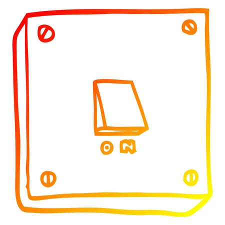 warm gradient line drawing of a cartoon light switch