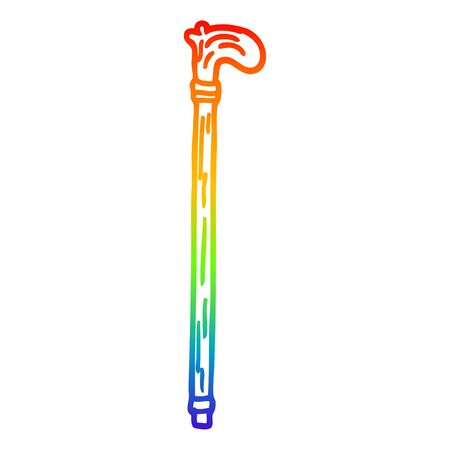 rainbow gradient line drawing of a cartoon walking stick Ilustração