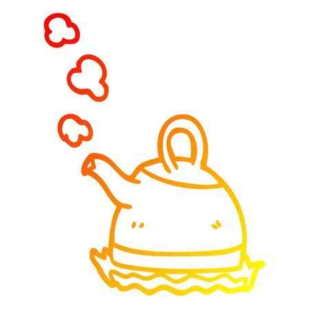 warm gradient line drawing of a cartoon kettle on stove 向量圖像