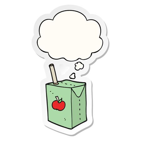 cartoon apple juice box with thought bubble as a printed sticker Ilustracja