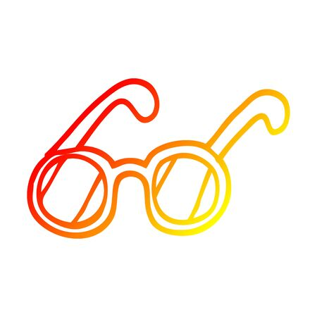 warm gradient line drawing of a cartoon spectacles Stock Illustratie