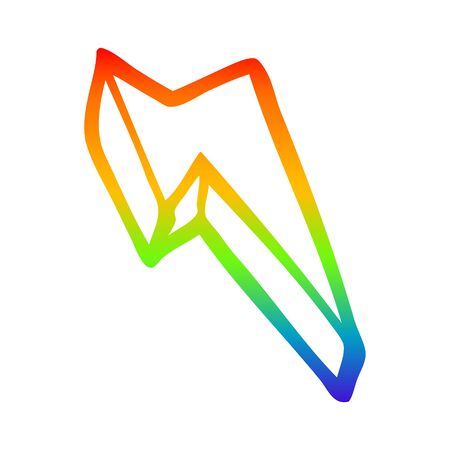 rainbow gradient line drawing of a cartoon decorative lightning bolt
