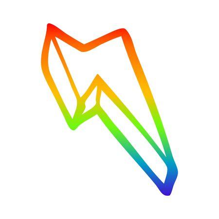 rainbow gradient line drawing of a cartoon decorative lightning bolt
