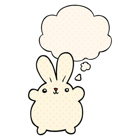 cute cartoon rabbit with thought bubble in comic book style