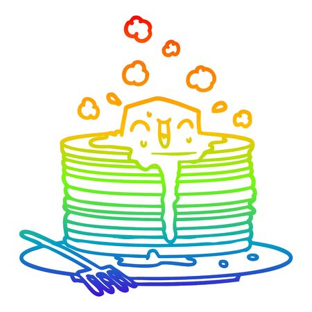rainbow gradient line drawing of a stack of tasty pancakes