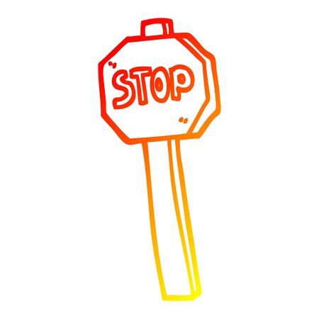 warm gradient line drawing of a cartoon stop sign 일러스트