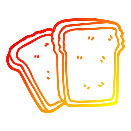 warm gradient line drawing of a cartoon toast