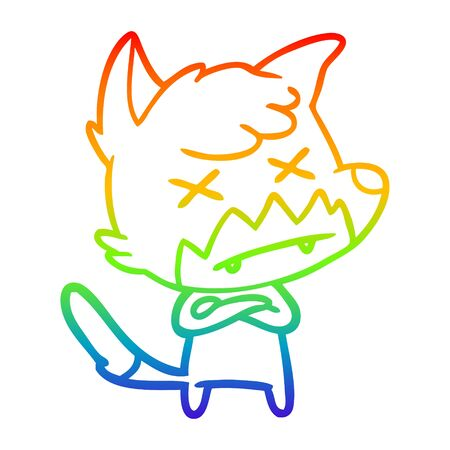 rainbow gradient line drawing of a cartoon dead fox