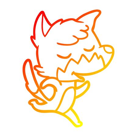 warm gradient line drawing of a friendly cartoon fox Ilustração