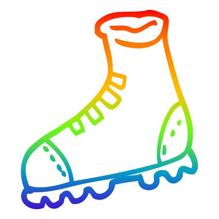 rainbow gradient line drawing of a cartoon walking boot