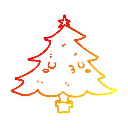warm gradient line drawing of a cute cartoon christmas tree Illustration