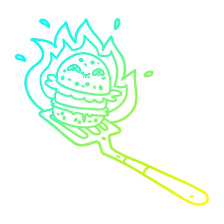 cold gradient line drawing of a cartoon burger cooking