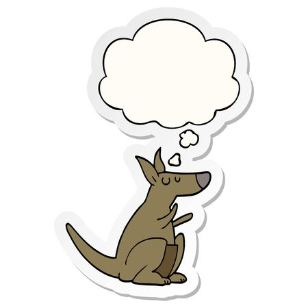 cartoon kangaroo with thought bubble as a printed sticker