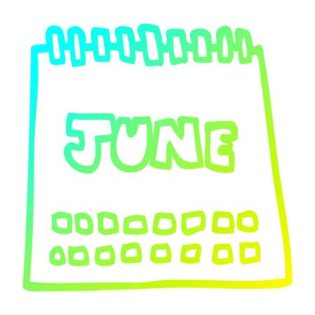 cold gradient line drawing of a cartoon calendar showing month of june