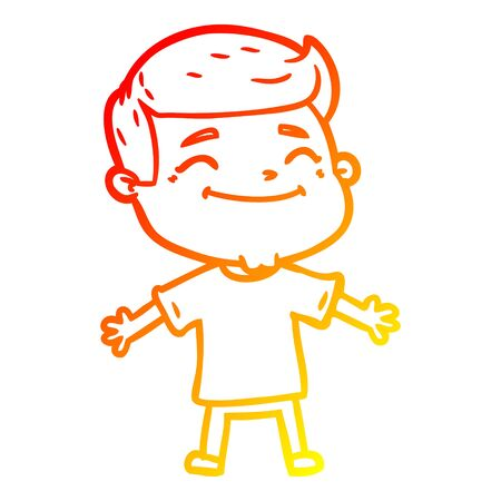 warm gradient line drawing of a happy cartoon man with open arms