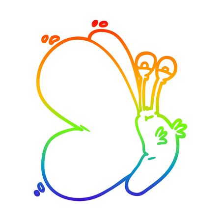 rainbow gradient line drawing of a funny cartoon butterfly Stock Illustratie
