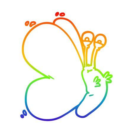 rainbow gradient line drawing of a funny cartoon butterfly Иллюстрация