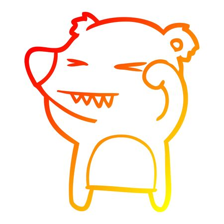 warm gradient line drawing of a angry bear cartoon Illustration