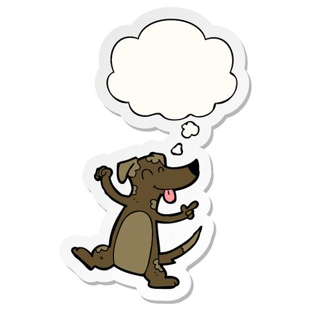 cartoon dancing dog with thought bubble as a printed sticker Illustration