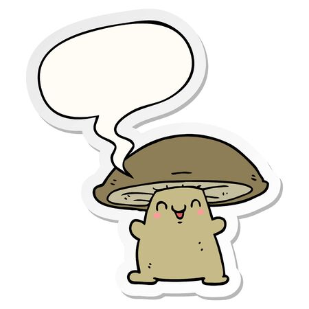 cartoon mushroom character with speech bubble sticker