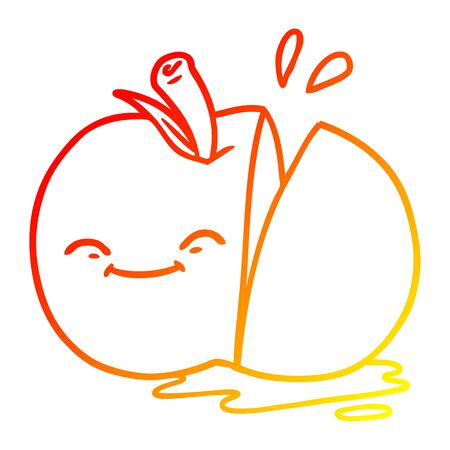 warm gradient line drawing of a cartoon sliced apple