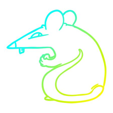 cold gradient line drawing of a sly cartoon rat