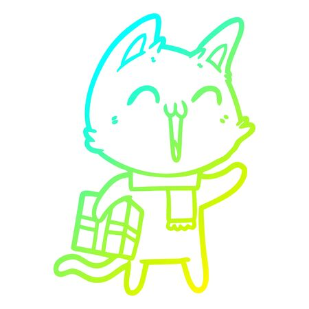 cold gradient line drawing of a happy cartoon cat with christmas gift
