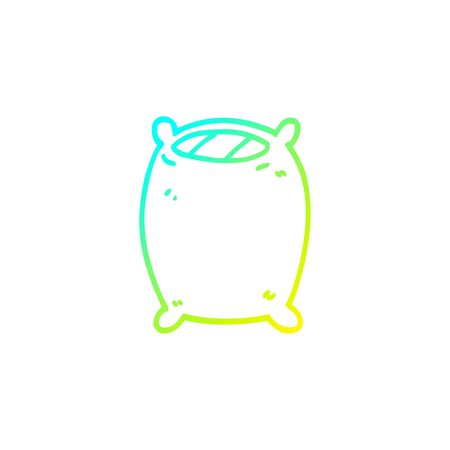 cold gradient line drawing of a cartoon comfy pillow