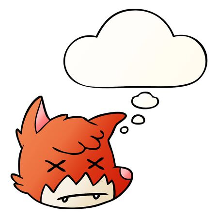 cartoon dead fox face with thought bubble in smooth gradient style