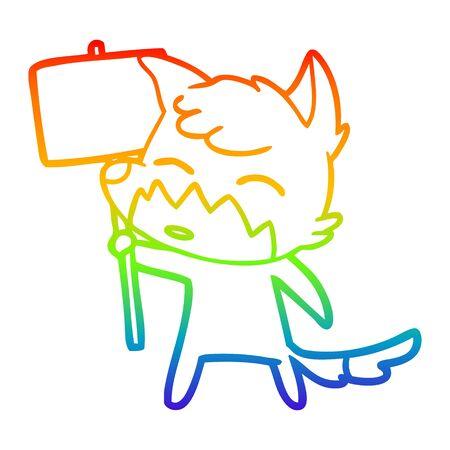 rainbow gradient line drawing of a cartoon fox Ilustração