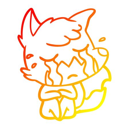 warm gradient line drawing of a crying fox cartoon