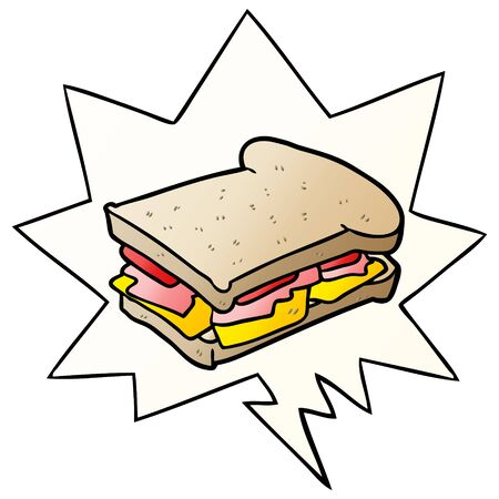 cartoon ham cheese tomato sandwich with speech bubble in smooth gradient style