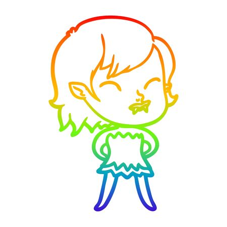 rainbow gradient line drawing of a cartoon vampire girl with blood on cheek Banco de Imagens - 129645499