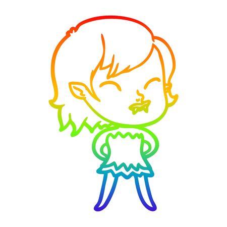 rainbow gradient line drawing of a cartoon vampire girl with blood on cheek 向量圖像