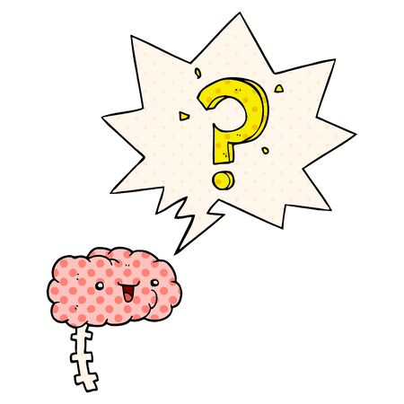 cartoon curious brain with speech bubble in comic book style