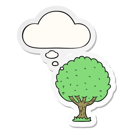 cartoon tree with thought bubble as a printed sticker Ilustracja