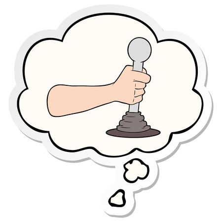 cartoon hand pulling lever with thought bubble as a printed sticker