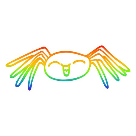 rainbow gradient line drawing of a cartoon happy spider