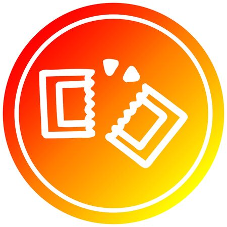 movie ticket circular icon with warm gradient finish 向量圖像