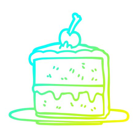 cold gradient line drawing of a cartoon chocolate cake