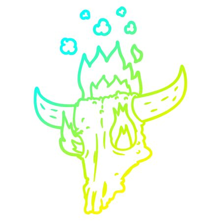 cold gradient line drawing of a spooky flaming animals skull cartoon