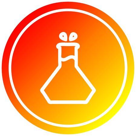 science experiment circular icon with warm gradient finish Illusztráció
