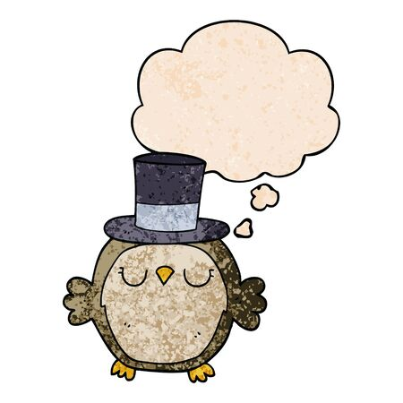 cartoon owl wearing top hat with thought bubble in grunge texture style