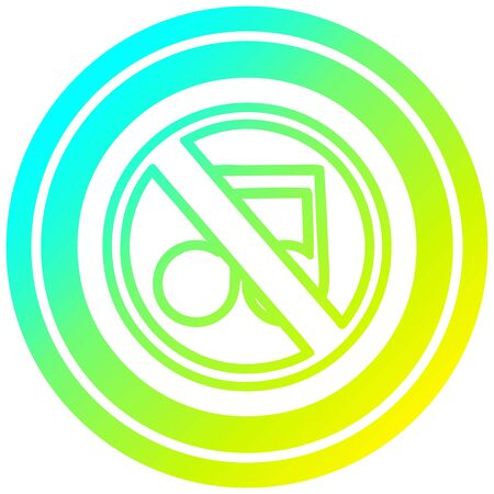 no music circular icon with cool gradient finish 向量圖像