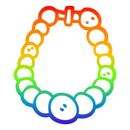 rainbow gradient line drawing of a cartoon white pearl necklace