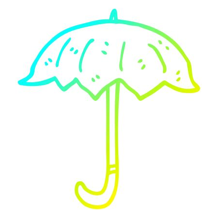cold gradient line drawing of a cartoon open umbrella