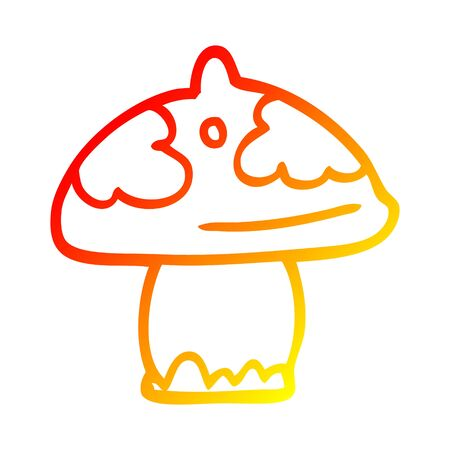 warm gradient line drawing of a cartoon mushroom Illustration