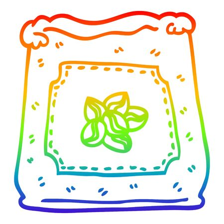 rainbow gradient line drawing of a cartoon bag of coffee beans Stock Illustratie